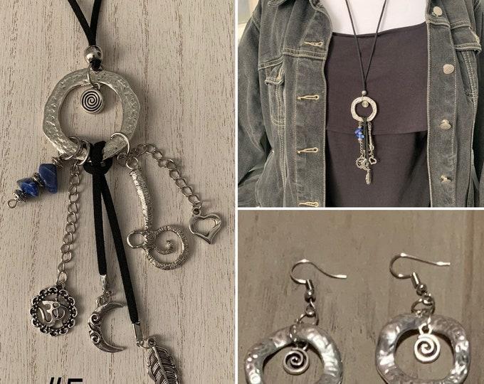 Zen, healing crystals. Chakra, BOHO ethnic style adjustable length sweater necklace. Jewelry set. Earrings optional.Circle pendant.