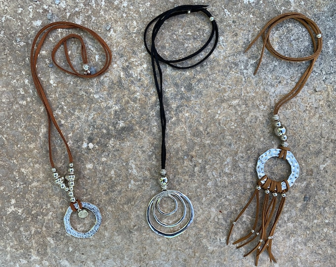hippie/cowgirl/western style necklace/pendant. Boho Women's jewelryAdjustable length. 4Styles. Black,tan cord/silver chain.