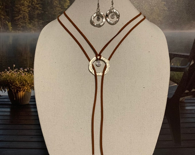 Boho necklaces for women.  Multi strand necklace. Faux suede cord necklace with circle pendant. Boho Earrings.