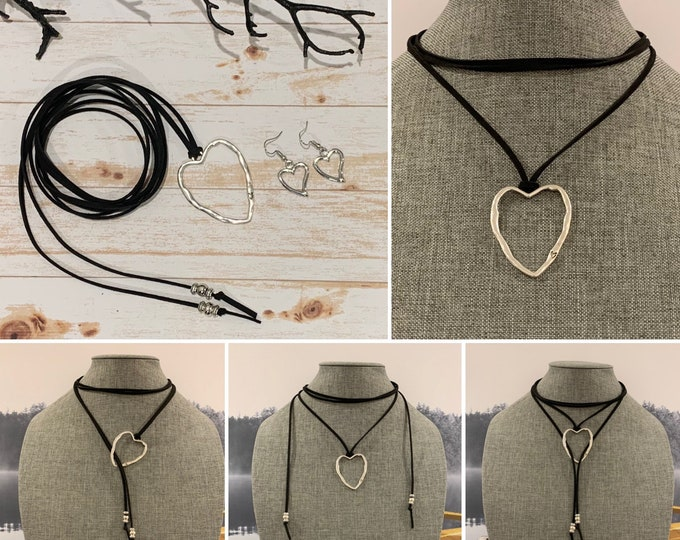 Western style jewelry-60's jewelry-Silver heart necklace for women-Adjustable length-Boho Jewelry set-Faux suede cord- Multi-strand.