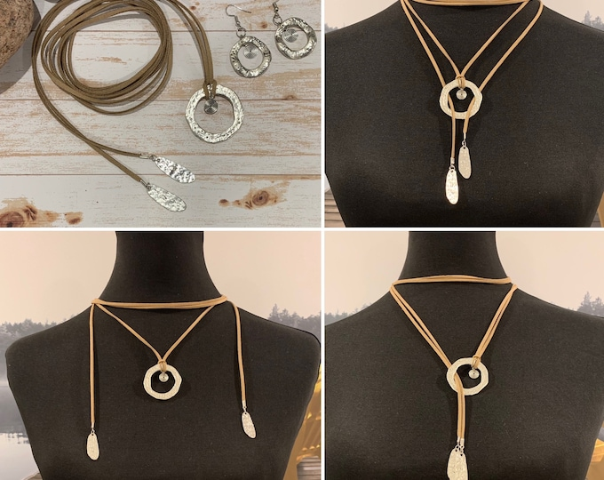 Mothers Day Gift. Western/hippy necklace for women.Jewelry set. circle, heart pendant.Multi-strand.Earrings (optional). Boho.