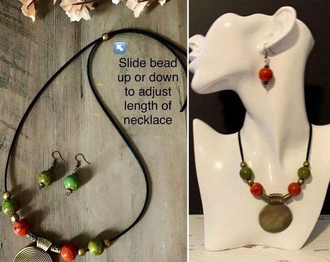 Boho chic bronze necklace -Jewelry set for women- Green orange beaded necklace- Boho earrings.