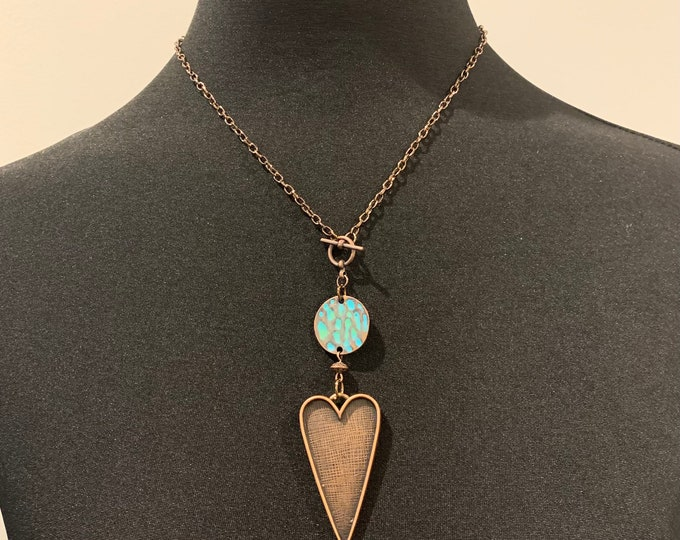 Boho necklace/pendant set  for women. Leaf/heart. Copper and turquoise. Earrings to match (optional).