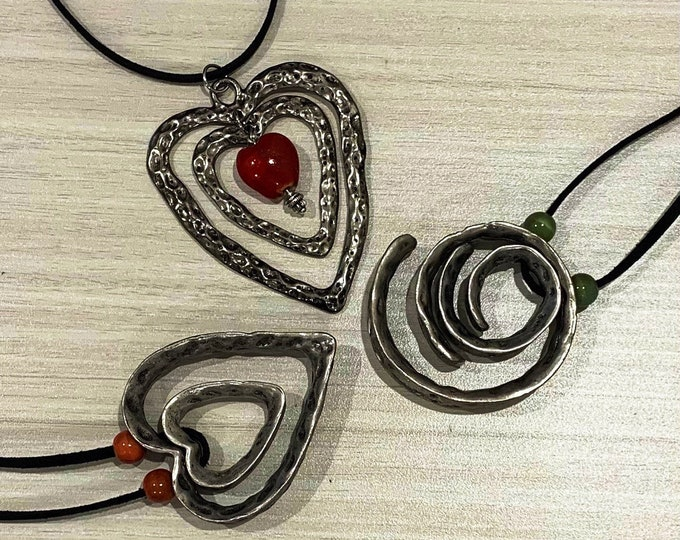 Double heart pendant-Antique silver spiral necklace-Large pendant-Jewelry set for women-Necklace and earrings-Gift for her-Geometric jewelry