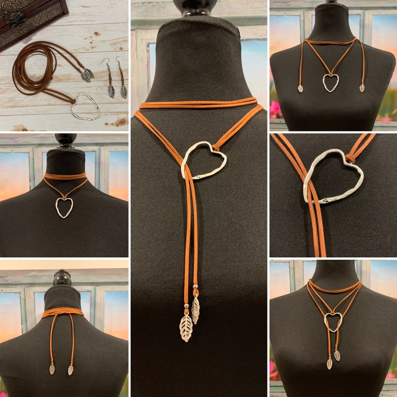 Western/hippy style for women-Faux suede cord necklace circle image 0
