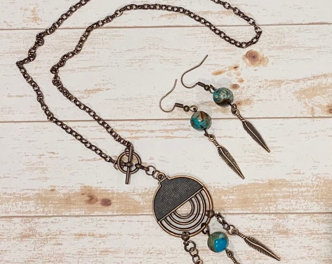 BOHO Copper Leaf Jewelry - Turquoise Jasper Beaded Pendant - Hippy/western style necklace - BOHO earrings