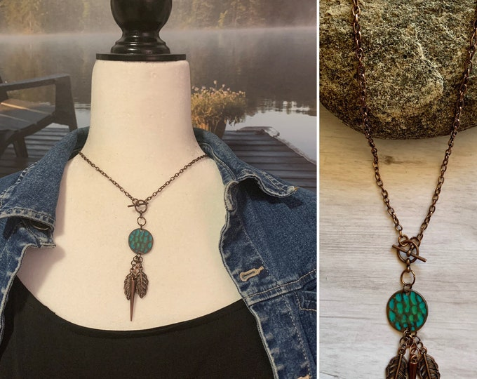 Bohmeium style copper leaf necklace set- Turquoise copper jewelry set - Copper leaf earrings (optional) - Leaf or Heart style.