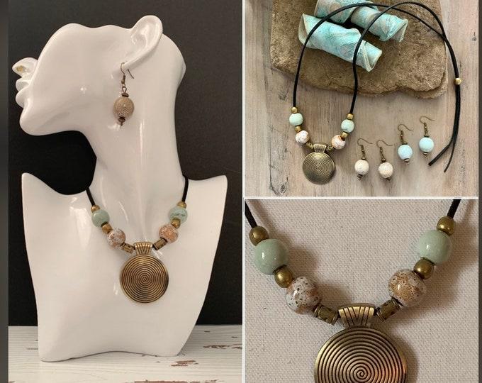 Vintage BOHO ethnic style adjustable length sweater necklace. Jewelry set. Earrings optional. Hippie/western style. Citcle pendant. Turquose