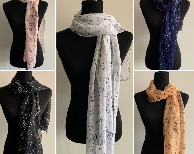 Musical notes scarf -Silky polyester scarf - Scarf for women - Silky scarf - Polyester scarf - Musical note scarf- Gift for musician