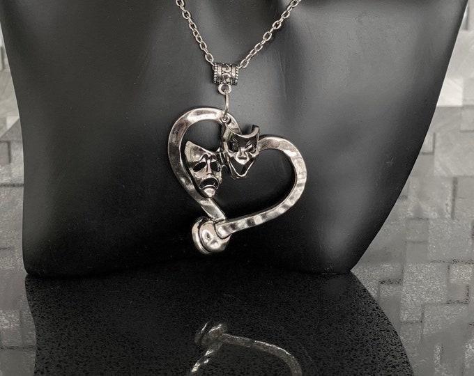 Music/drama gift - Theatre jewelry- Musical note pendant-Comedy tragedy mask-Drama  gift-Broadway custom jewelry