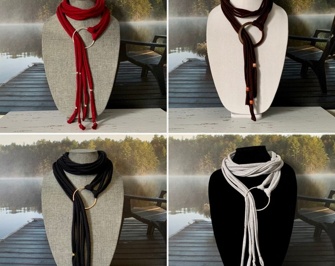 Womens scarf necklaces - Scarf jewelry - Black scarf necklace - Silver heart pendant - Scarf accessory - Multistyle scarf jewelry