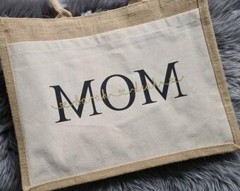 Bag, MOM, Personalized Bag, Jute, Handbag, Groomswoman, Bride, JGA, Lettering, Personalized, Sticker