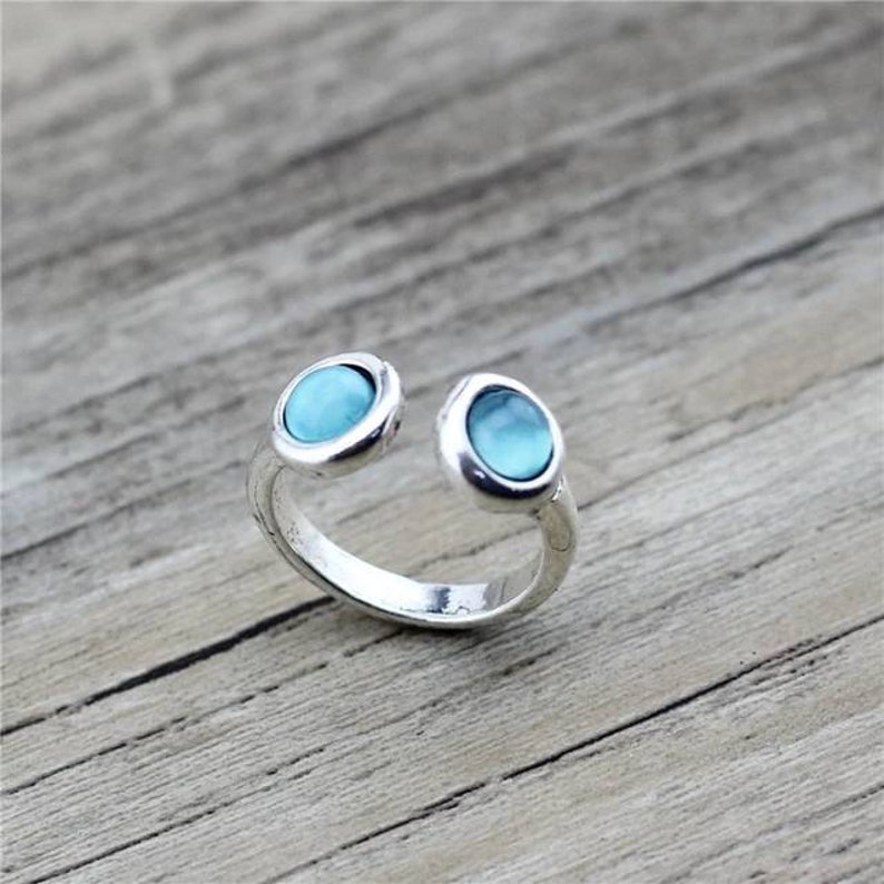 Blue Topaz Ring  925 Sterling Silver Ring  Round Shaped Ring Anniversary Ring  Topaz Women Ring  Gift For Her  Birthday Gift