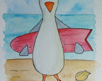 Original watercolor. Original watercolour. Seagull. Seagull