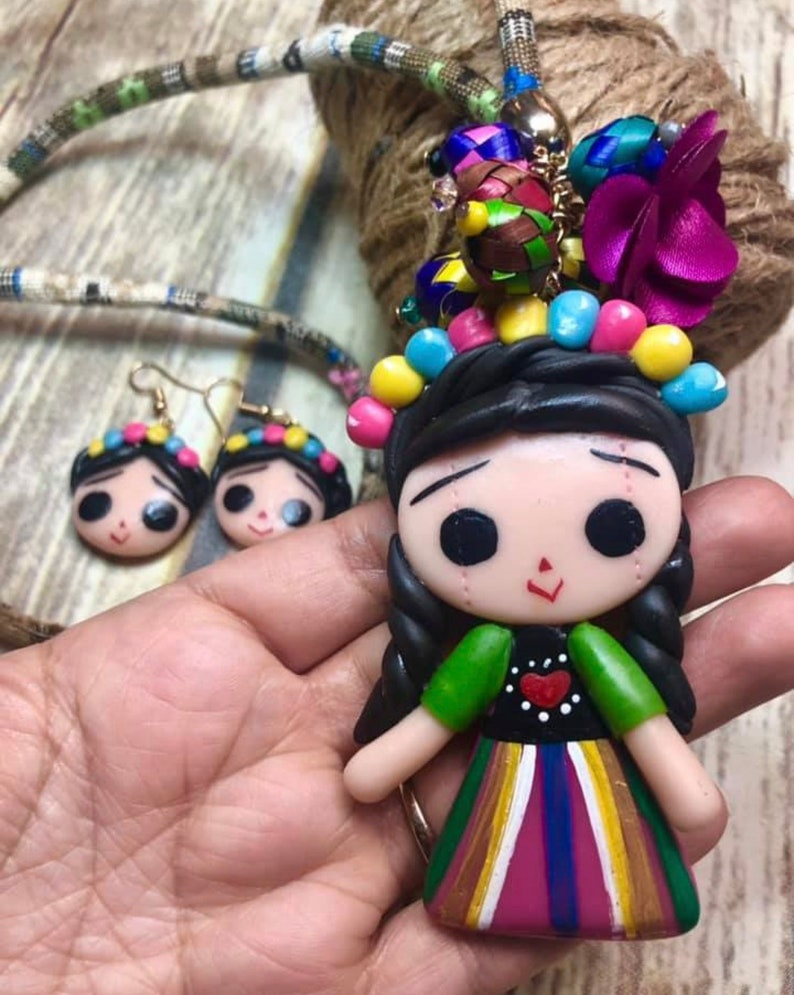 Mexican Doll Necklace And Earrings Handmade.