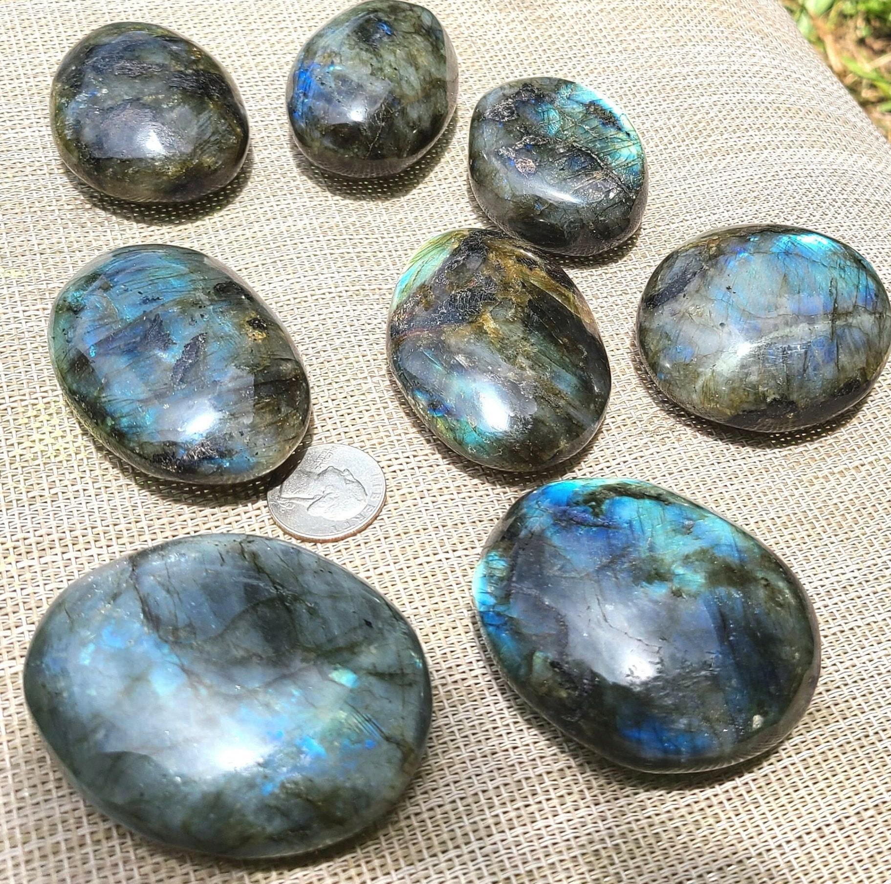 blue flash Labradorite palm stone #7