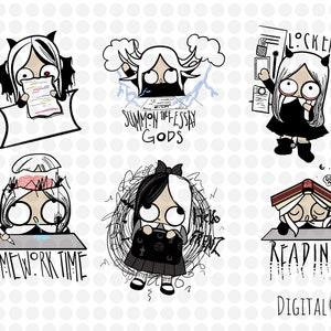 png clip Art Amelia Back To School Planner Stickers 300 ppi Digital Die Cut