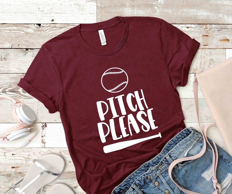 Personalized Shirts Bella Canvas Custom Gift T-Shirt Pitches Please Team Gift From kids Sport School Baseball