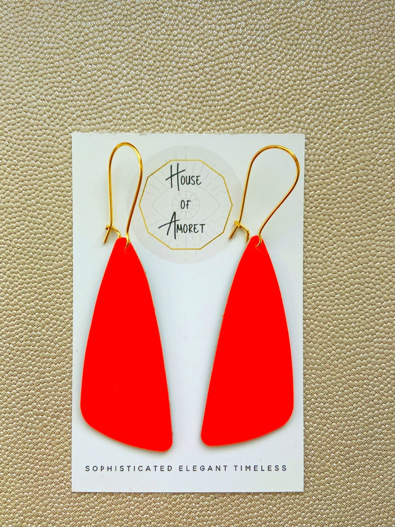 Eco Friendly and Zero Waste Reclaimed Leather Made in Yorkshire by House of Amoret Upcycled Handmade Leather Earrings in Neon Orange