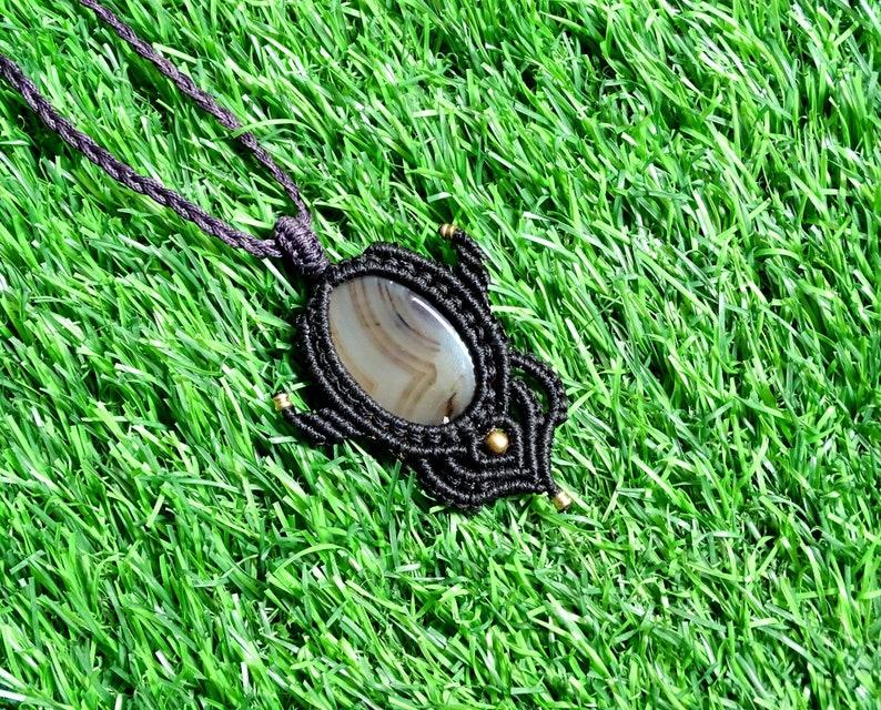 Macrame necklace handmade Montana Agate Stone pendant Handmade Bohemian Boho hippie Yoga necklace gemstone necklace tribal necklace Gift.