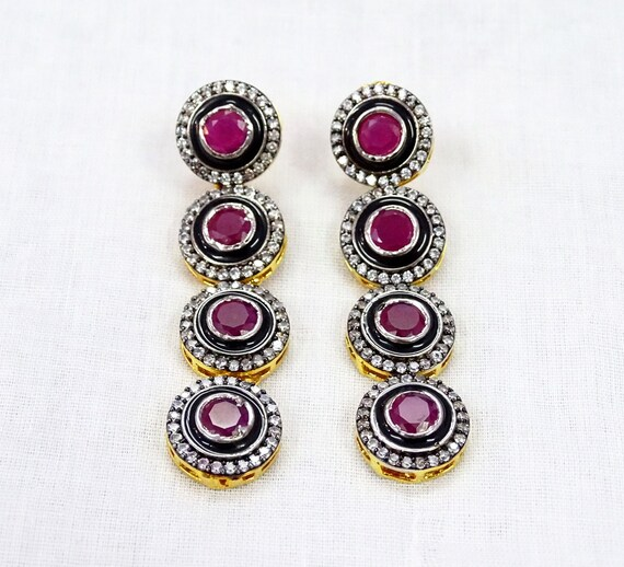Designer Round Coin /& Oval Ruby CZ Necklace Earrings Gold Plated Handmade Indian Jewelry Set Bollywood Designer For Women Girls Gift Sale.