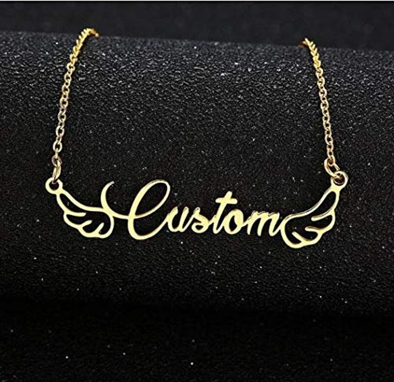 Birthday Gift Present Custom Necklace Initial Necklace Personalized Name Necklace Handmade Necklace Christmas Gift Wings Charm Necklace