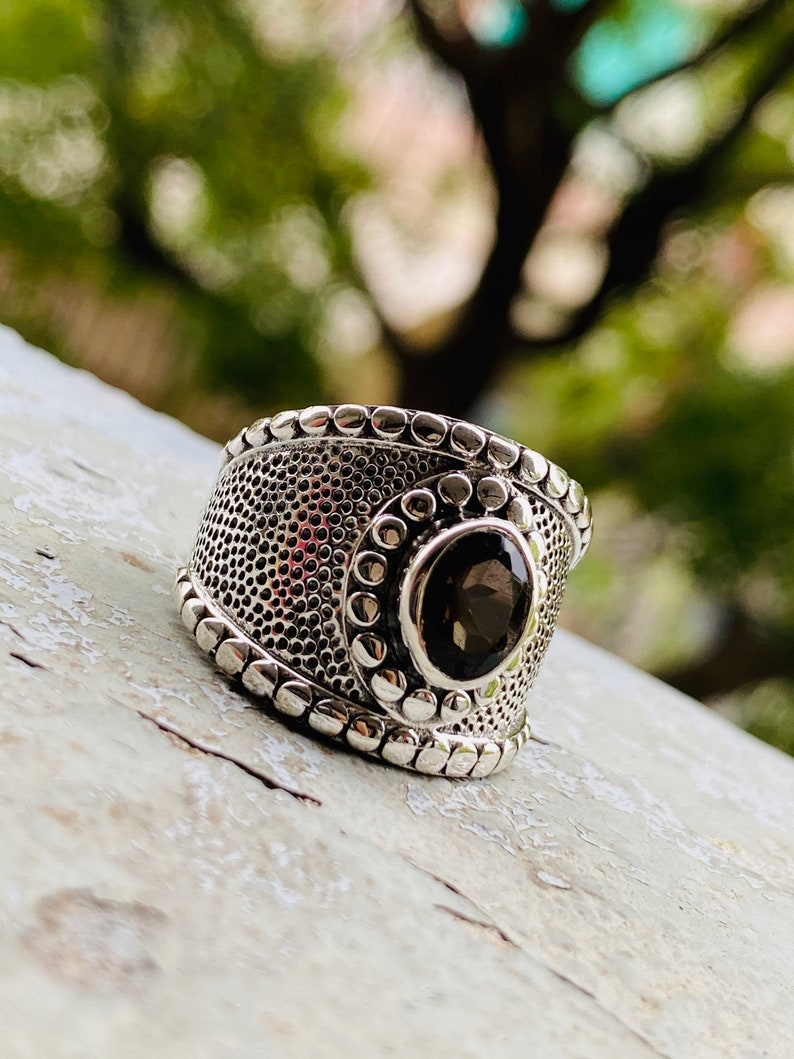 Gift for HimHer SMOKY QUARTZ 925 Sterling Silver Ring Handmade Ring