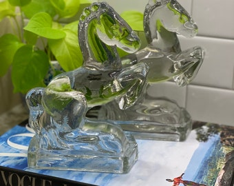 MCM Clear Solid Glass Pair of Horse Head Book Ends