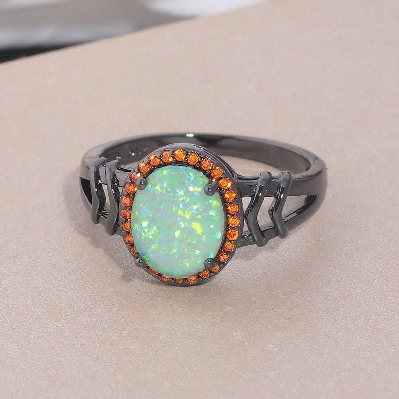 Wedding Ring Anniversary Ring Black Rhodium Ring Opal Ring 925 Sterling Silver Ring Typical Handmade Ring Orange Stone Engagement Ring