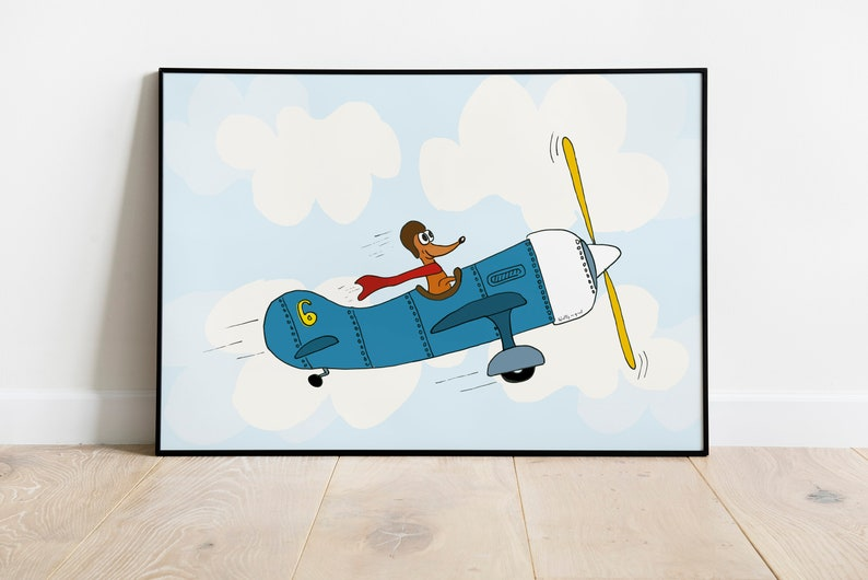Flying Teckel A3 A4 children's poster airplane poster image 0