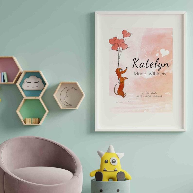 Geboorte aankondiging meisje geboorte print baby poster image 0