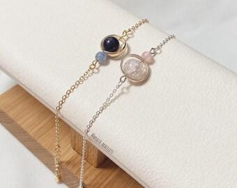 Universe/Galaxy Bracelet | Planet | Chain bracelet | Pink Blue Bracelet | Friendship bracelet ΙSolar system bracelet