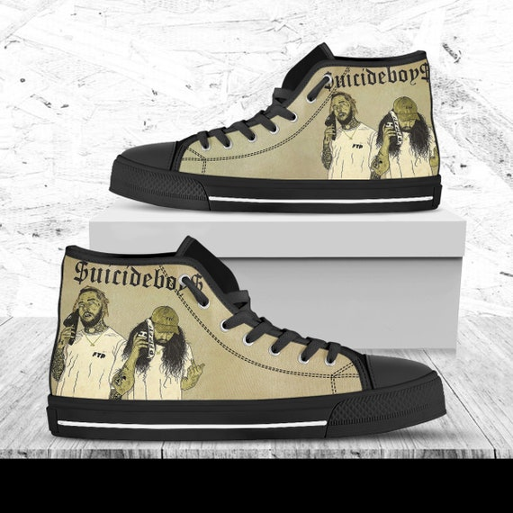 Suicideboys Custom Shoes, Music Hightops, Custom Shoes, Shoes With Suicideboys Image, Hip Hop Shoes, Rapper Shoes, American Hip Hop Duo