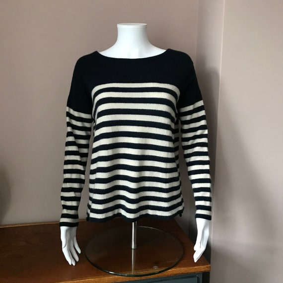 Cashmere Breton style striped jumper.