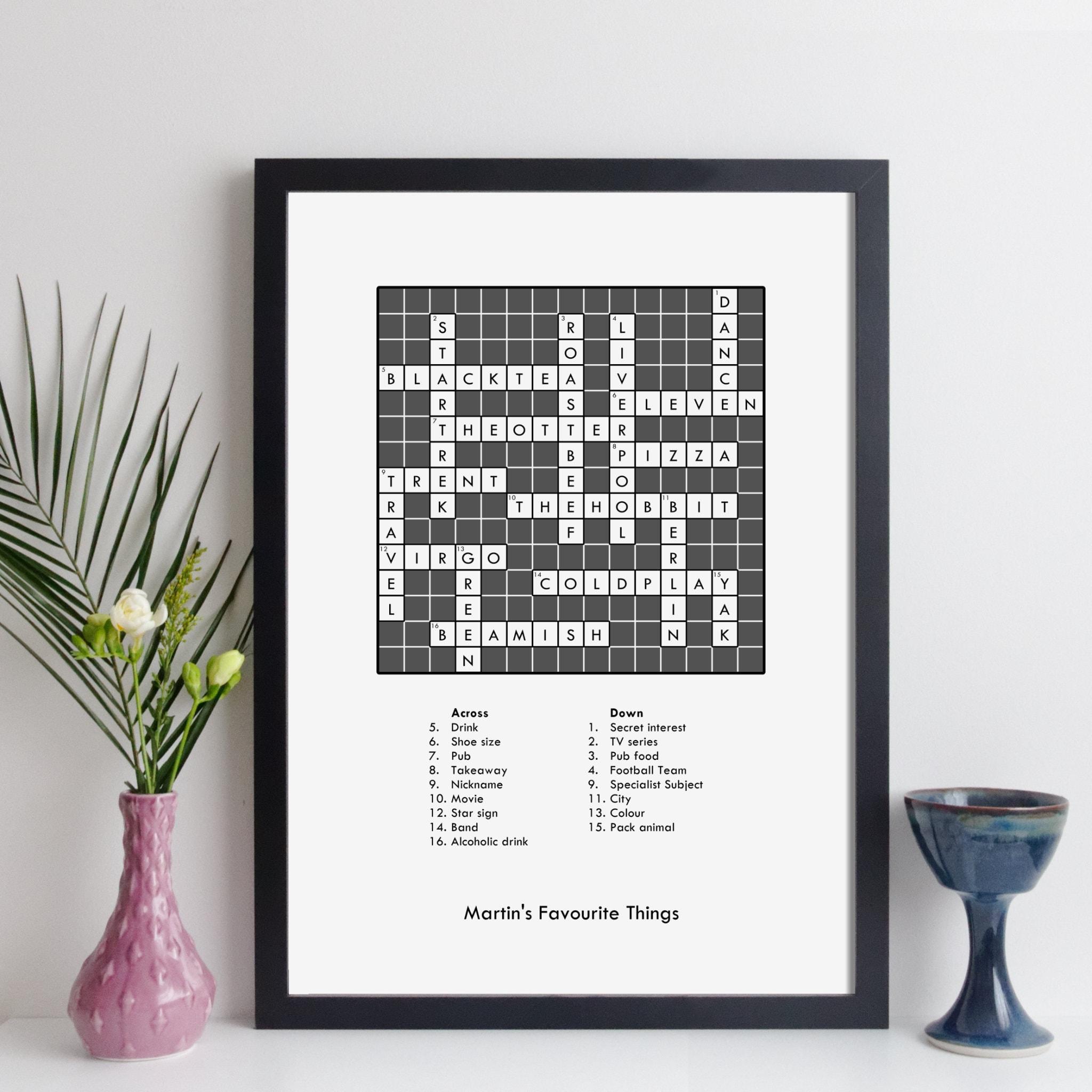 custom crossword puzzle print / personalised crossword gift / cross word  art keepsake / bespoke family retirement gift / wall art home decor