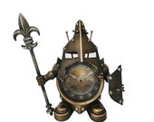Bronze Middle Age Knight Table Clock