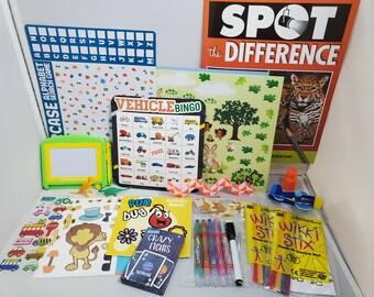 Kids Busy Bag, Travel Tote, Restaurant Activities, Airplane Activity Bag, Grandchild Gifts, Kids Birthday Gift, Ring Bearer Flower Girl Gift
