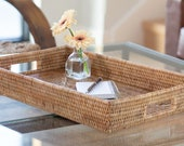 Artifacts Rattan Rectangular Tray With Cutout Handles