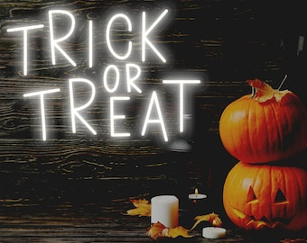 Trick Or Treat Neon Sign, Custom Halloween Led Sign, Halloween Party Decor