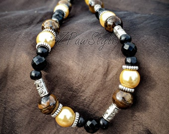 Beaded Necklace Collar Jewellery For Dogs Staffy Pitbull Amstaff Bully in Gemstones and Beads My Vitality