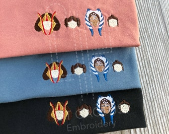 Space Women Shirt, Leia, Rey, SW Shirt,  Embroidered Shirt, Gift for Him, Gift for Her