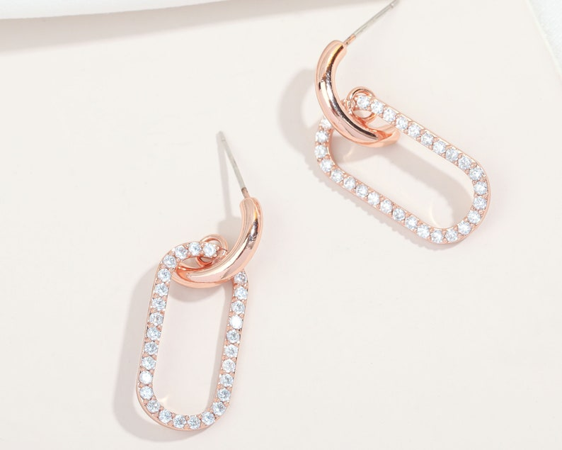 feather light,Cubic Zirconia,Statement Earrings,Sterling Silver Post Oval Hoop Earrings Bridesmaid Gift,14K Rose Gold Plated,Alicia Bonnie
