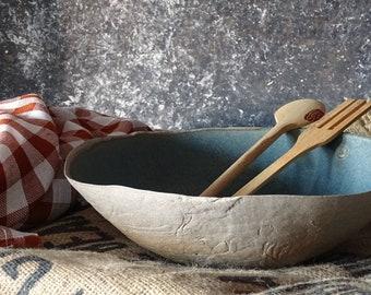 Large Green Blue Ceramic Bowl Handmade Salad Serving Bowl Stoneware Rustic Bowl Fruit Bowl Pottery Dish Modern Farmhouse Ceramic Dinnerware