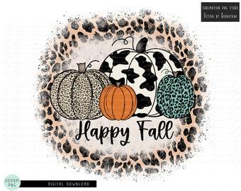 Happy Fall Leopard Pumpkin Sublimation Design Digital Download, Fall Pumpkins Sublimation, Thanksgiving Png, Autumn Sublimation Design