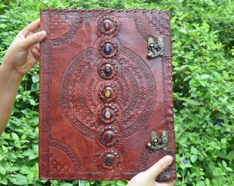 Handmade Extra Large Seven Stone Journal Refillable Notebook Chakra Embossed Journal with lock Book of Shadows