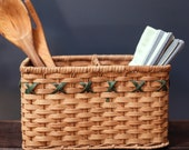Rectangle Wicker Rattan Basket with Green Detail Divider - Modern Farmhouse Knapkin Utensil Basket