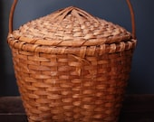 Extra Large Square to Round Shaker Style Lidded Basket with Hand Carved Wood Handle Lid