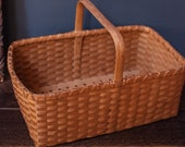 Extra Large Rectangle Flat Bottom Wicker Rattan Basket with Handle - Vintage Shaker Style Gathering Market Basket