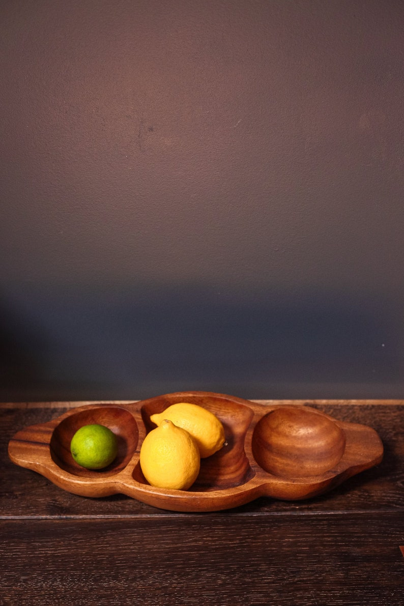 Midcentury Modern Wooden Bowl Divided Wood Serving PlatterBowl Bohemian
