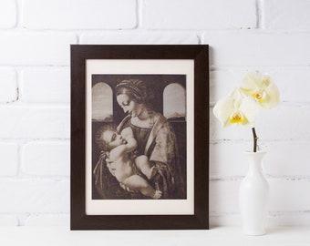 Da Vinci, Da Vinci Sketch, Vintage Etching, Leonardo da Vinci, Mona Lisa, Antique Print, Madonna